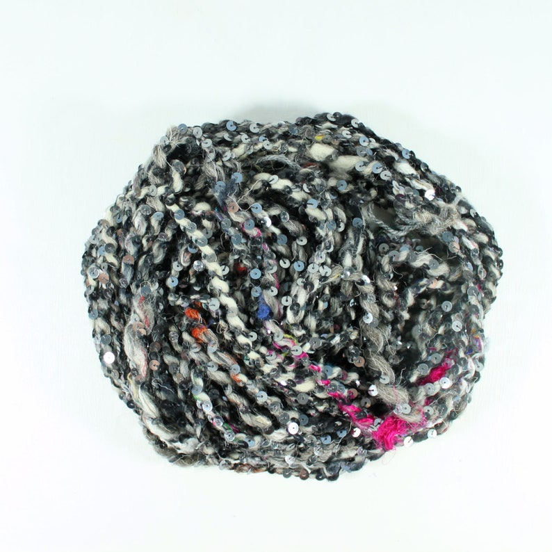 handspun art yarn silver handspun yarn grey sequin art yarn image 0