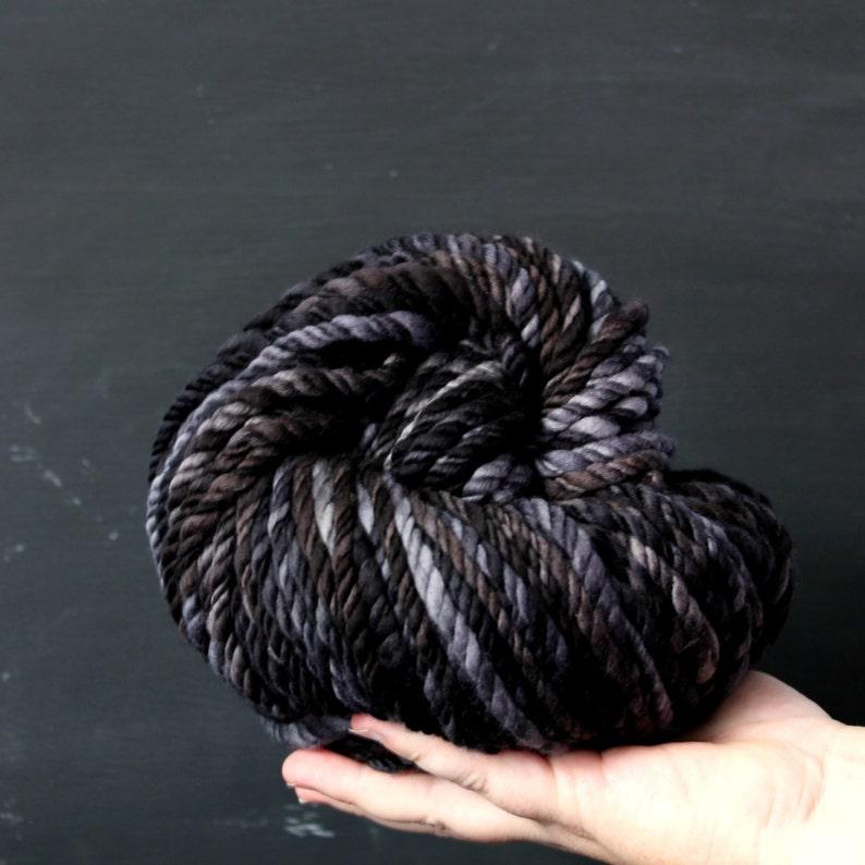 3ply yarn thick black yarn handspun art yarn wool hand spun image 0