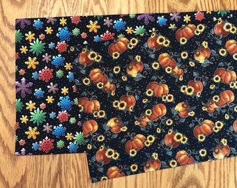 Table Runner Fall Sunflower Pumpkin / Christmas Colorful Snowflake - Reversible