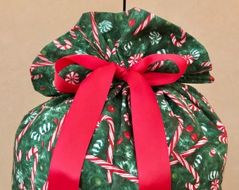 Extra Large Christmas Gift Bag 20 inches x 29 inches Candy Cane Santa Sack Reusable Eco-Friendly Cotton Fabric red green