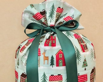 Extra Large Christmas Gift Bag 19 inches x 30 inches Houses Santa Sack Reusable Eco-Friendly Cotton Fabric
