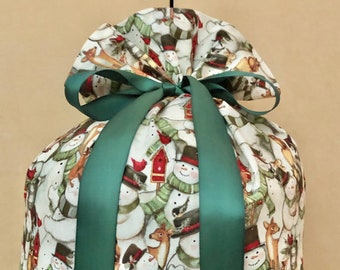 Extra Large Christmas Gift Bag 19 inches x 32 inches Snowmen Santa Sack Reusable Eco-Friendly Cotton Fabric