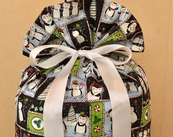 Extra Large Christmas Gift Bag 20 inches x 29 inches Penguins Peppermint Reusable Eco-Friendly Cotton Fabric Santa Sack