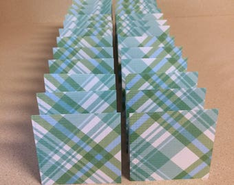 Mini Cards 24 green blue plaid - blank for thank you notes 3 x 3