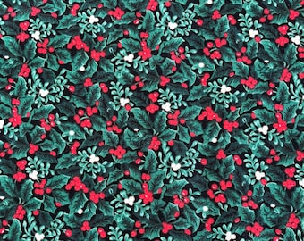 Christmas Holly Fabric - 1 yard x 43 inches