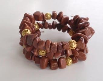 Goldstone chip bead memory wire bracelet