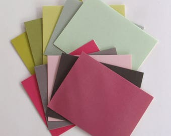 9 Cards and envelopes for embellishing  - solid colors - blank notes 4.25 x 5.5