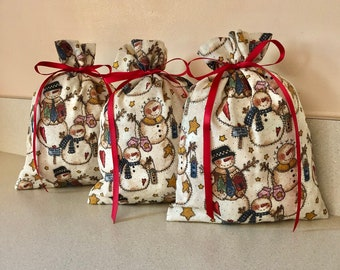 3 Christmas gift bags 5 1/2 inches x 8 inches Reusable Eco-Friendly cotton fabric snowmen snowman tea stained look country
