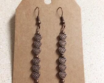 Copper Celtic Heart Earrings