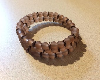 Brown glass memory wire bracelet copper accent beads