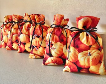 6 Halloween Pumpkin Gift Bags 4 inches x 6 inches Reusable Eco-Friendly Cotton Fabric