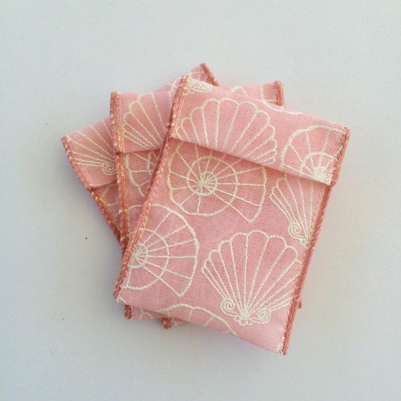 Jewelry Bead Pouches 15 Sea Shells Pink Ribbon