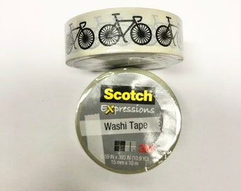 2 pk Washi Tape Bicycle Scotch Expressions rolls each .59 inch x 393 inches (15 mm x 10 m)