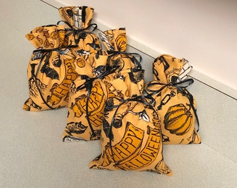6 Halloween Gift Bags - 4 x 6 inches Reusable Eco-Friendly Cotton Fabric
