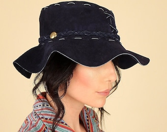 ViNtAgE 60 s 70 s Floppy Suede Leather Sun Bucket Hat    Rare Indigo Color     Artisan Made Crafted Handcrafted    Made in Mexico Hippie BoHo 3816f0a8db71