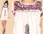 ViNtAgE OAXACAN Mini Dress Mexican Hand Embroidered 70 39 s Floral Cotton Handmade Artisan Hippie BoHo White