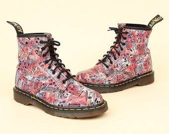 2263e4d667e7 ViNtAgE 90's Dr. Martens Boots London Scene 1460 Lace Up Combat Ankle Boots  Made in England Docs Doc Martin UK 6 US 8