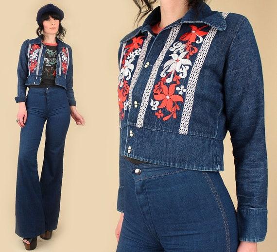 ViNtAgE 60's 70's Cropped Denim Jean Jacket // Flo