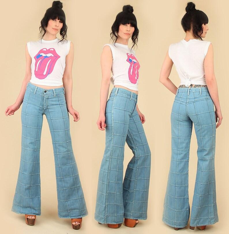 ff588986 ViNtAgE 70's Patchwork Bell Bottoms // ELEPHANT BELLS // Hip Hugger Patched  Denim Hippie Jeans 26 Waist