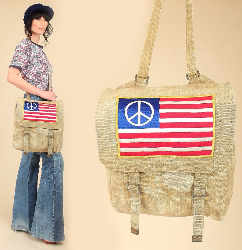 9aff64bbbf Vintage PEACE Protest Flag Road Bag    60 s American Flag