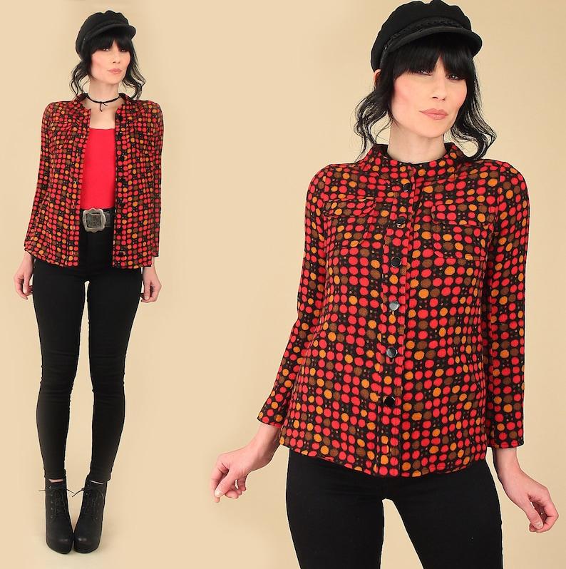 Magnin Shirt Top  Fitted Mod Style ViNtAgE 60s Emanuel Ungaro Wool Jacket  Pop Art Polka Dot Print  I