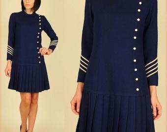 ViNtAgE 60's JeT AgE MoD Navy Stewardess MiNi Dress