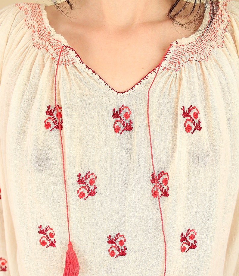 ViNtAgE Romanian Blouse  Sheer Gauze Cotton  Artisan Made Hand EMBROIDERED  Gauzy Tunic Top Shirt  SM