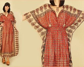 ViNtAgE 70's INDIA Rainbow Ethnic HiPPiE Gypsy Caftan Dress M