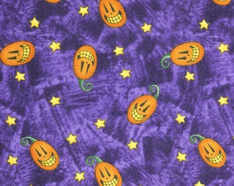 "Debbie Mumm happy Jack o Lanterns on dark purple shades 42""44""  wide 100% cotton"
