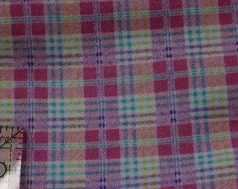 """Pink Yellow Lavender Teal  plaid  100% cotton flannel  41""""-44"""" wide"""