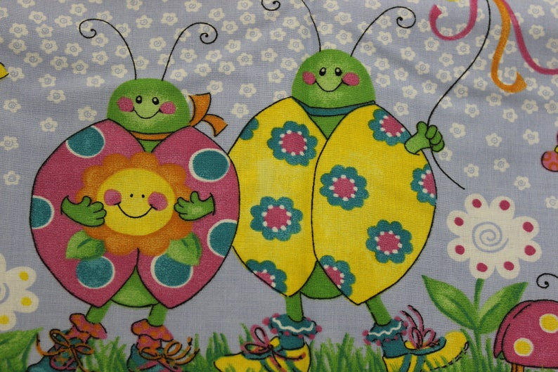 Bright ladybugs  double Border by Lainey Dainels 100/% cotton fabric 42-44 wide by Daisy Kingdom for Springs Ind.