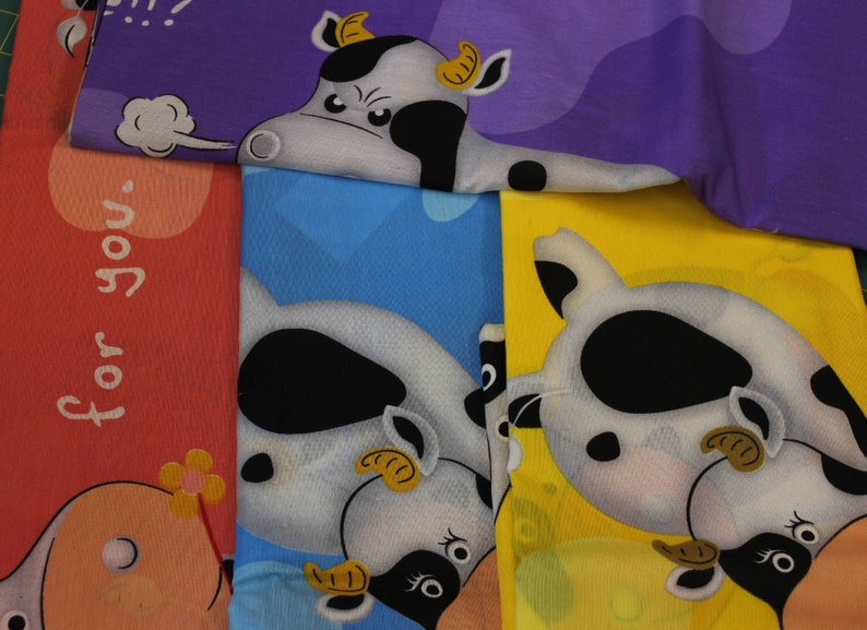 Purple or Blue  100/% cotton fabric 47-48 wide Green Peachy-Pink LARGE Comical CowsBulls On Yellow