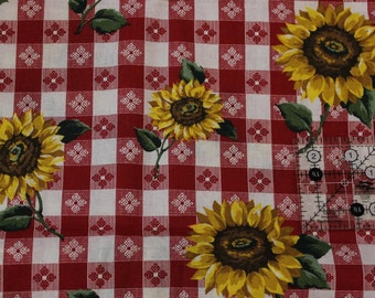 """Sunflowers on red floral gingham 100% cotton fabric 60"""" wide"""