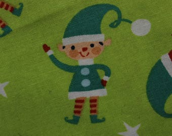 """Christmas Elf Elves on Green 42""""-44""""wide 100% cotton"""
