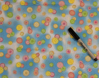 Buttons on blue white 100% cotton fabric . Bedtime Bear by Fabri-Quilt