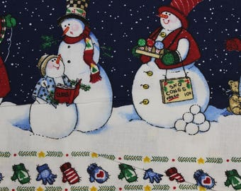 """Daisy Kingdom Heaven and Nature Sing Snowman Sampler Borders 100% cotton 42""""-44"""" wide by Sandi Gore-Evans"""