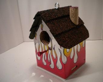 Flames.....License Plate Birdhouse