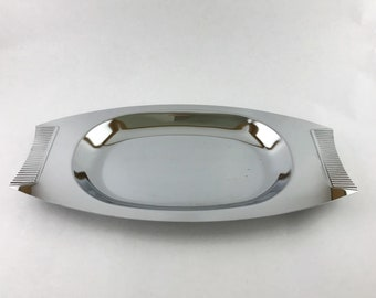 Vintage Midcentury Silver Tray Platter Barware Catch All tray