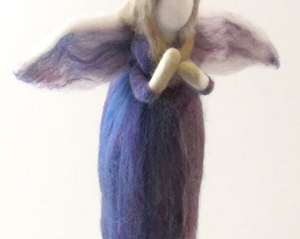Needle Felted Purple Fairy Ornament or Angel Ornament