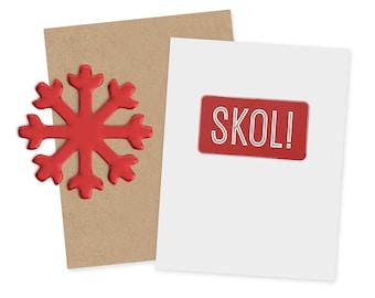 Cyber Week Sale -Swedish Christmas Card - Skol Card - Scandavian Christmas - Holiday Card -Cheers - Christmas Card - Modern Christmas Card