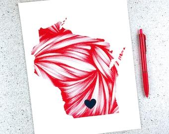 Wisconsin Art Print - Personalized Gift -  Wisconsin State Art - Custom Wall Art - UW Madison Grad Gift  - Home State Gift - Graduation Gift
