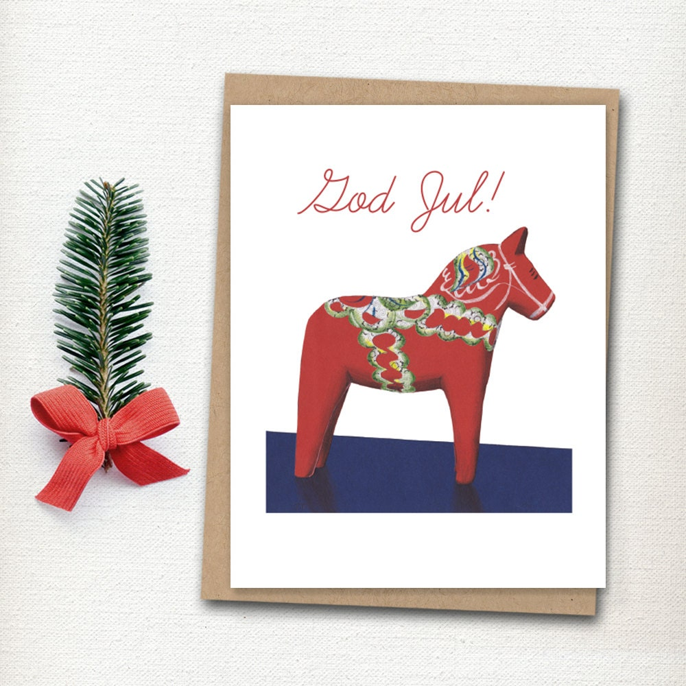 Swedish Christmas Card Dala Horse Card Scandavian Christmas Holiday Card God Jul Christmas Card Swedish Horse