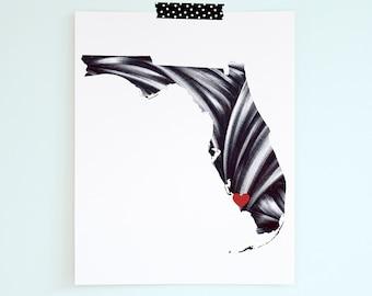 Personalized Gift - Florida Print - Custom Florida Wall Art - Florida Home Art  - Home State Gift - Graduation Gift - Florida State Print