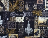 RARE Michael Miller Nevermore Fabric Poe Halloween Spiders Skulls 4 Yds Cotton Quilting Dresses Crafts