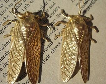 CICADA Earrings huge statement Jewelry raw brass jewelry