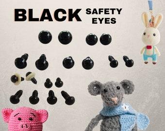 12 PAIR Black Safety Eyes With Washers 5mm 6mm 7mm 8mm 9mm 10mm  12mm 13mm Amigurumi Sew Crochet Knit Teddy Bear Doll PE-1