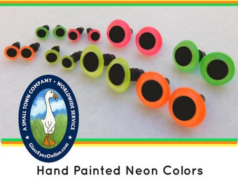 12 PAIR Neon Safety Eyes 14mm to 16mm For Teddy Bear, Doll, Puppet, Monster, Fantasy, Softies, Plush Animal, Sewing, Crochet, Knitting NPE-1