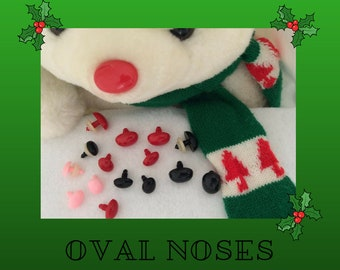 12 Oval Safety Noses, Buttons, Eyes 20mm or 24mm with Washers for Puppet, Doll, Teddy Bear, Fantasy, Plush Animal, Crochet, Sewing,  ON-1