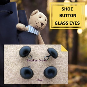 4mm MATCHED PAIR Black Matte Glass Shoe-Button Eyes on a Wire Loop Article PR2 Teddy Bear Plush Toy Stuffed Animal Plushie
