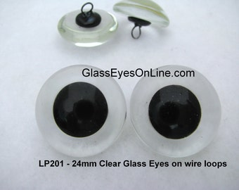 1 PAIR 24mm Glass EYES Wire Loops  Teddy Bears, Dolls, Plush Animals, Needle Felting, Sewing, Sculpture, Clear or You Paint Back  ( LP-201 )